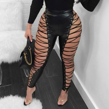 PU leather lace up pants