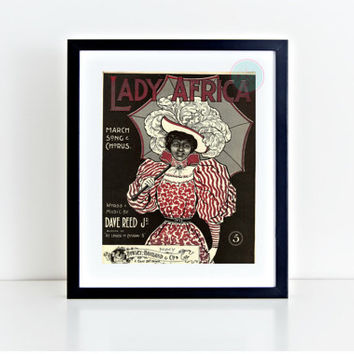 "Printable Wall Decor, ""Lady Africa"", 8x10, Vintage Print, African American, African Women, Vintage Wall Art, TableTop, Instant Download"