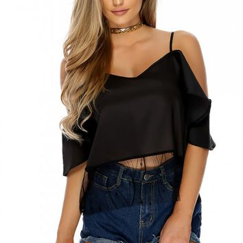 Sexy Black Sheer Shoulder Cutouts Short Sleeve Casual Top
