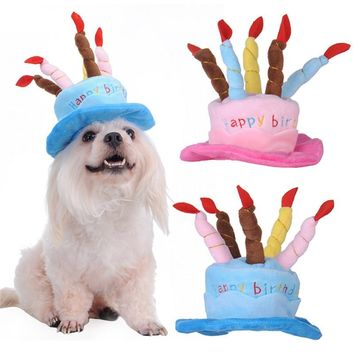 Cute Adorable Cat Dog Pet Happy Birthday Party Hat with Cake and 5 Colorful Candles Design Cosplay Costume Accessory Headwear