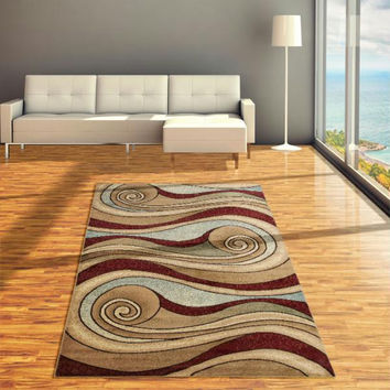 "Lavish Home Waves Area Rug - 60"" x 87"" - Brown-Blue"