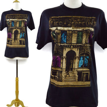 Vintage 80s Led Zeppelin Physical Graffiti T Shirt Sz M