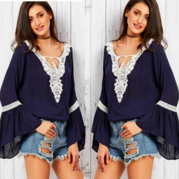 Fashion Navy Blue Boho Crochet Bell Sleeves Blouse Top