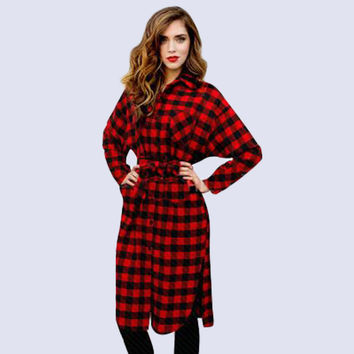 Red Plaid Waist Tie Lapel Dress Top