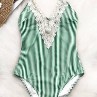Cupshe Green Shade Lace One-piece Swimsuit