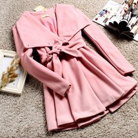 Casual Sweet Womens Trenchcoat Outerwears Single Breast Solid Belt