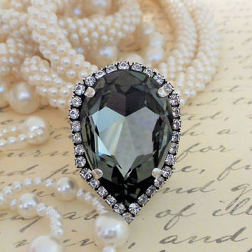 Elegant Black Diamond Statement Ring, 30x20 Pear Shape, Halo Crystal, Adjustable, Antique Silver, Very Popular, DKSJewelrydesigns