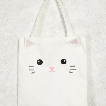 Cat Graphic Canvas Tote