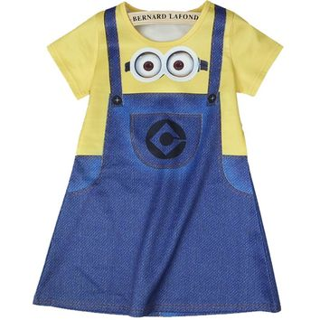 Baby Girls Dresses Summer Short SLeeve Minions Children's Party Princess Costume Casual Cartoon Dress 3 4 5 6 7 8Y Kids Clothing