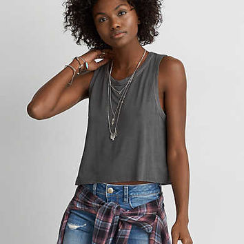 AEO Soft & Sexy Swing Crop Tank , Olive