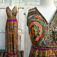 1970s Psychedelic Jumpsuit • Sleeveless Sequined Maxi Jumper Dress • 70s Groovy Jumpsuit