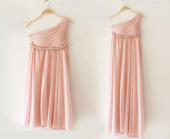 Greek Goddess Elegant Dress Nude pink Gown/ Bridesmaid Dress/ Short Dress 3 Colors