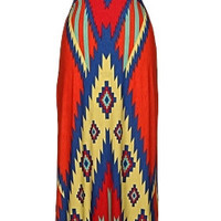 Tribal Print Cut-Out Maxi Dress