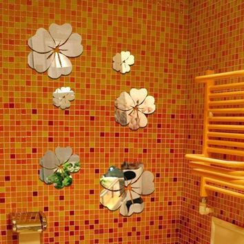 3D Mirror Wall Sticker 5 Flowers Sticker