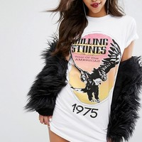 PrettyLittleThing Rolling Stones T-Shirt Dress at asos.com
