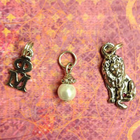 Sorority Greek Phi Mu Essential Trio of Charms - lavaliere, lion, pearl dangle