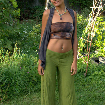 Long organic bamboo jersey wide leg hand dyed pants in small, medium, large