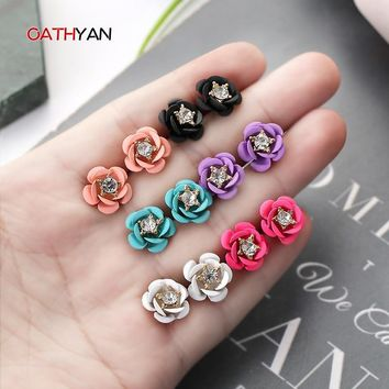 OATHYAN Unique Design Spray Colorful Stud Earrings For Women Cute Rhinestone Rose Flower Gold Earring Gift Drop Shipping Brincos
