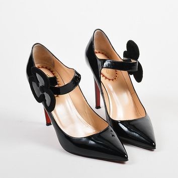 DCCK2 Black Christian Louboutin Patent Pensee 20 Ans Mary Jane Pumps