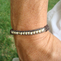 Men's Leather Macrame Bracelet: Handmade Silver Beads and 300 Year Old Granite Beads from Africa