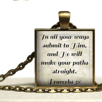 Proverbs 3:6 Glass Tile Pendant Necklace Christian Jewelry