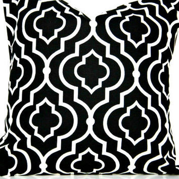 Black Morrocan Pillow Covers White Quatrefoil Decorative Pair 16x16