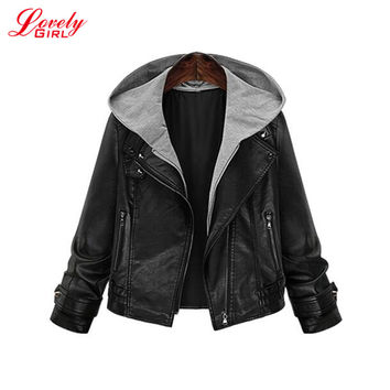 Leather Jacket 2017 Woman Winter Warm Coat Hooded Oversized Bomber Jackets Long Sleeve Euro Fashion Short Coat Blouson Femme