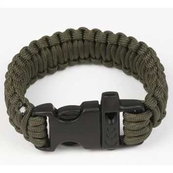 Outdoor Camping Men Self-Rescue Paracord Parachute Cord Bracelets Emergency Survival Rope Whistle Scraper Buckle