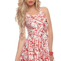 RED WHITE BLOOD SPLATTER STRETCH SLEEVELESS A-LINE DRESS