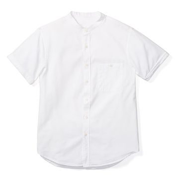 BAND COLLAR SHORT SLEEVE, WHITE OXFORD