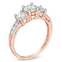 Lab-Created White Sapphire Three Stone Ring in 10K Rose Gold