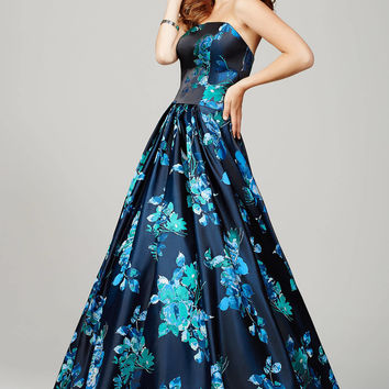 Multi Floral Print Evening Dress 33033