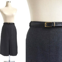 80's Office Skirt - A-Line Vintage Skirt - Charcoal Grey - 1980's Inverted Pleat Skirt