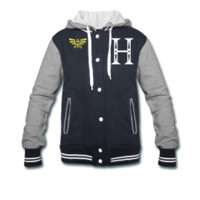 Hyrule Crest Womens Varsity Hooded Jacket S-XXL from Much Needed Merch