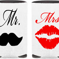 Mustache and Lips Koozies, Mr and Mrs, Koozies, Customizable, Personalized, Design Your Own Koozies