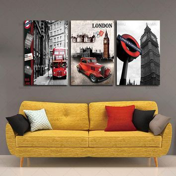 Canvas Painting Wall Art Picture 3 Piece Free Shipping Hot Sell Modern London city scenery Home Decorative Paint on Canvas Print
