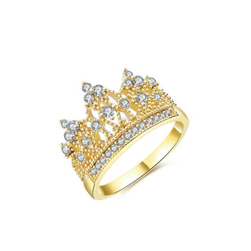 14K Gold Plated Princess Crown Cubic Zircon Fashion Ring