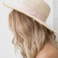 Natural Straw Hat With Blush Strap