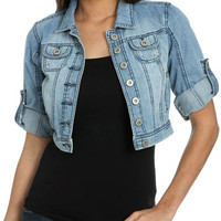 Denim Cropped Cuffed Jacket | Shop Jackets at Wet Seal