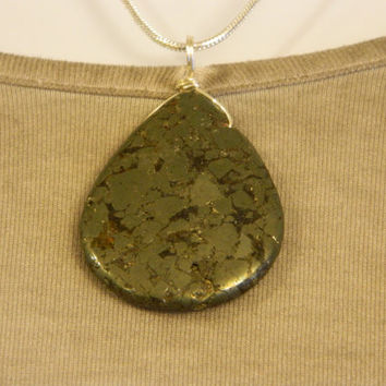 140ct. Rough Metallic Stone, Semi Precious, Agate, Pendant, Necklace, Teardrop, Natural Stone, 116-15