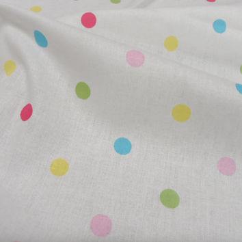Cotton fabric 52 x 195 in Organic Fabric Polka dots cotton fabric Perfect for baby bedding. Children Baby fabric