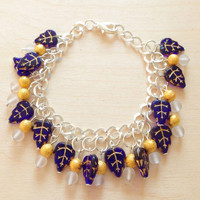 Blue Charm Bracelet - Silver Charm Bracelet with Gold beads and Blue Leaf Charms