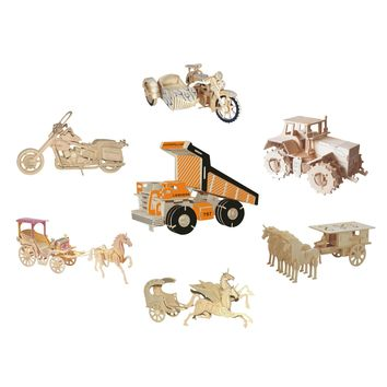 Chanycore Baby Learning Educational Wooden Toys 3D Puzzle Motorcycle Truck Tractor Horse Carriage ChariotKids Gifts 4305
