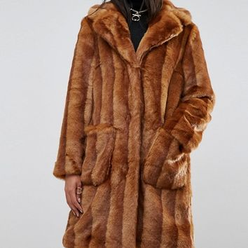 ASOS Faux Fur Midi Coat at asos.com