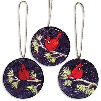 Set of 3 Painted Cardinal Wood Ornaments