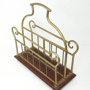 Vintage wood and brass magazine rack - Antique-brass wooden magazine rack stand organizer holder