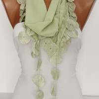 Light Green Chiffon Shawl Scarf -Headband Cowl with Lace Edge