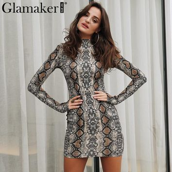 Glamaker Sexy slim snake printed mini dress Women long sleeve bodycon dress Casual streetwear turtleneck female party club dress