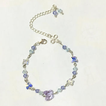 Dainty Purple Butterfly Crystal Silver Bracelet Aqua and Blue Diamond Crystal Bracelet Everyday Jewelry Personalized Bridesmaid Gift