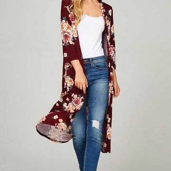 Got My Heart Floral Midi Cardigan, Burgundy